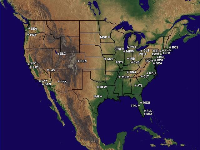 US FAA Airport Delay Status Map FoXnoMad - Map of major us airports
