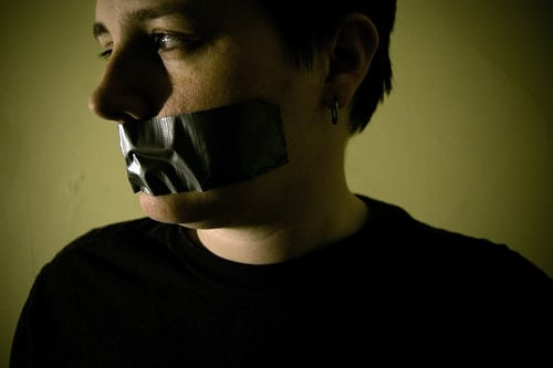 mouth taped shut