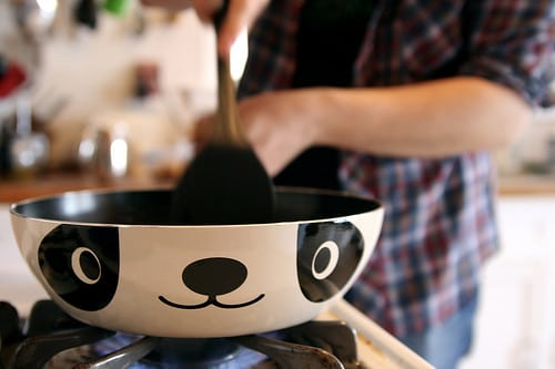 cooking in a panda pan
