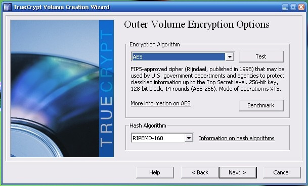 default truecrypt encryption