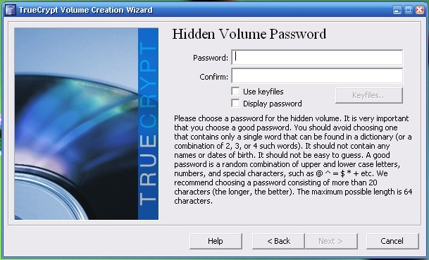 truecrypt hidden volume password