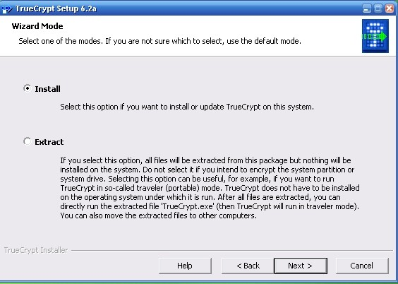 truecrypt installation screenshot