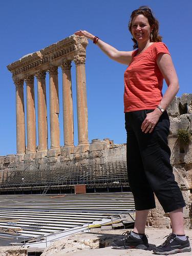 heather on her travels at baalbel lebanon