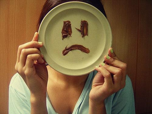 sad face on plate