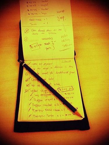 list on notepad