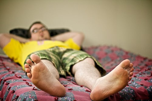 man lying down feet
