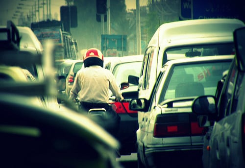 motorcycle in traffic