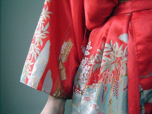 red kimono close up