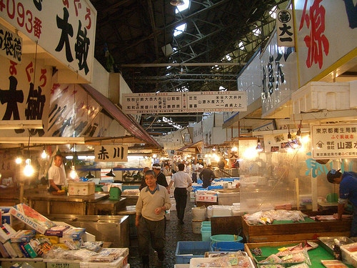 busy fish market