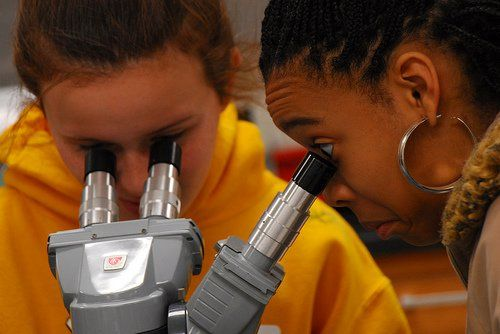two girls looking through microscope