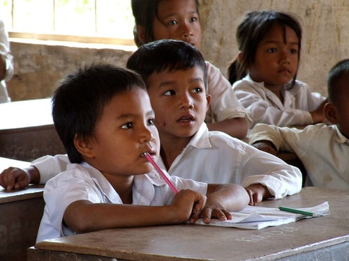 children in cambodian school
