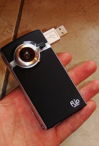 holding flip video camera