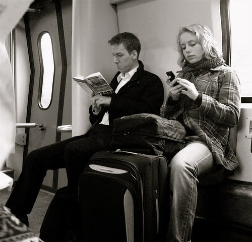 reading on a train