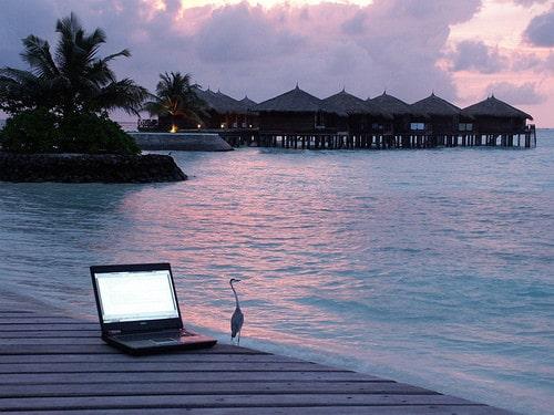 laptop near water