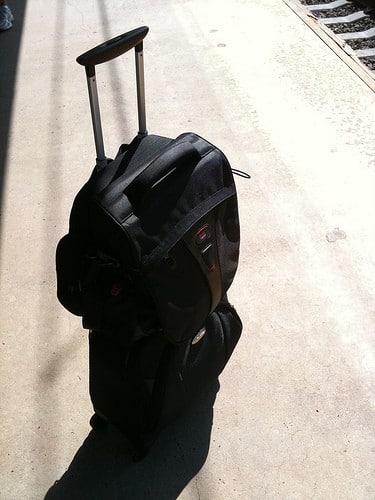 black rolling travel bag