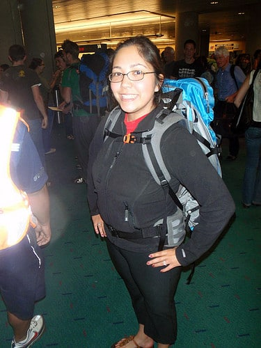 female backpacker