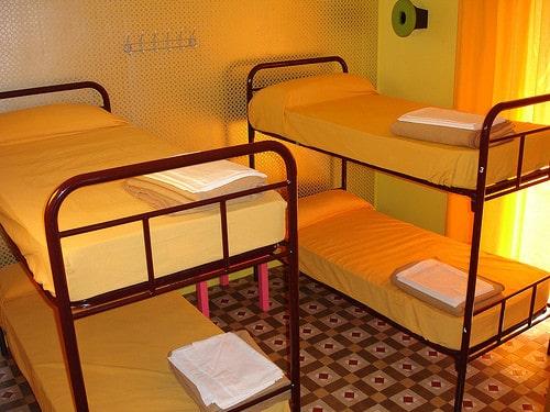 hostel dorm bunk beds