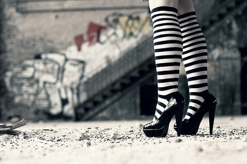 woman high heels stockings