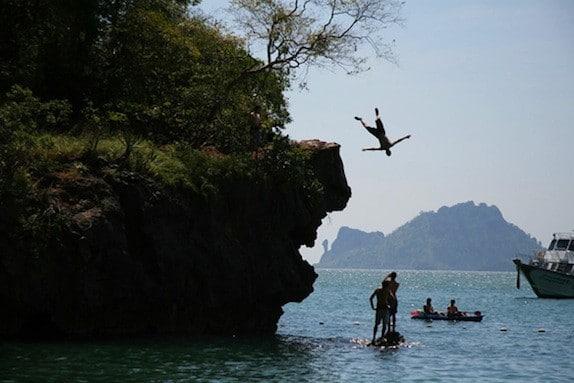 cliff diving thailand