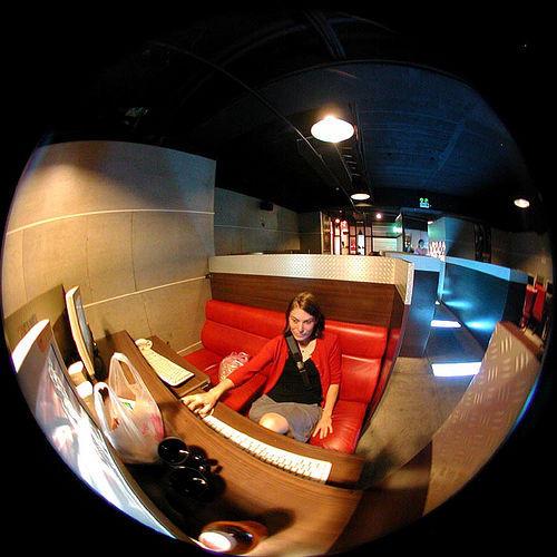 internet cafe fisheye view
