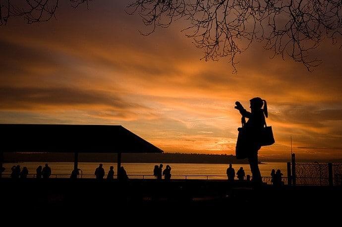 Sunset Silhouette Steinbrueck Park Seattle USA