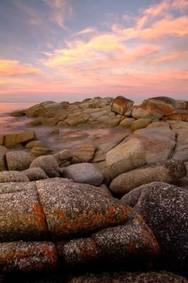 sunset Tasman Sea, Bay of Fires, Australia