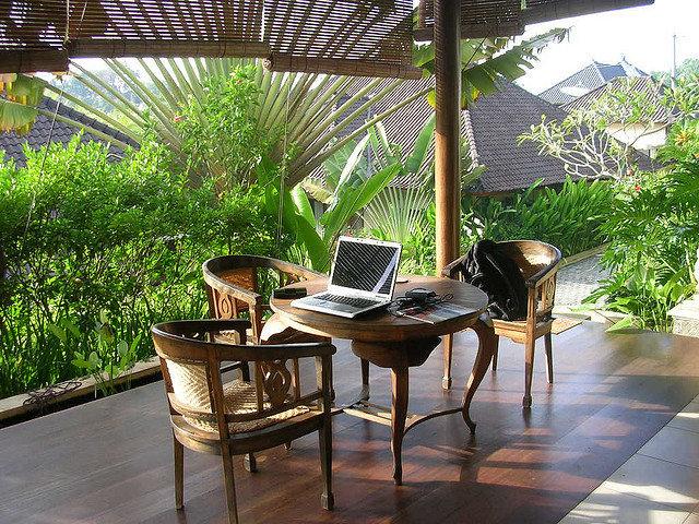 laptop on outdoor desk