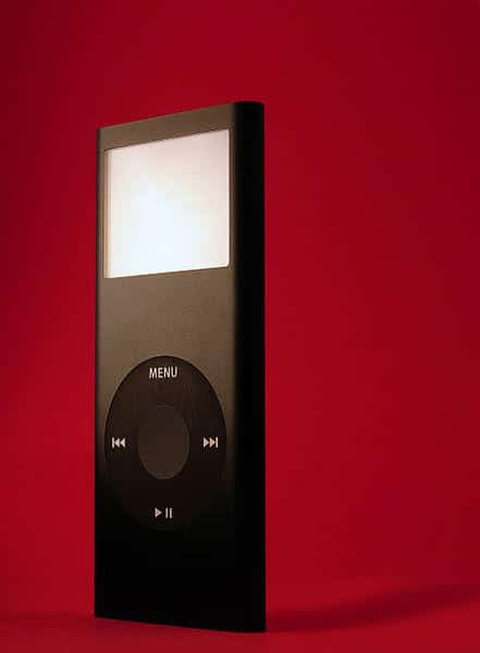 ipod on red background